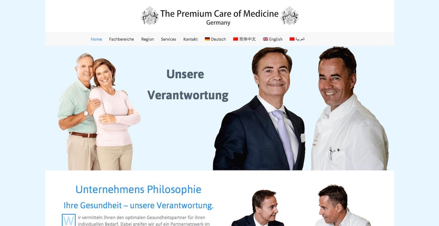 Homepage der Webdesign Paderborn Referenz Medicine Premium